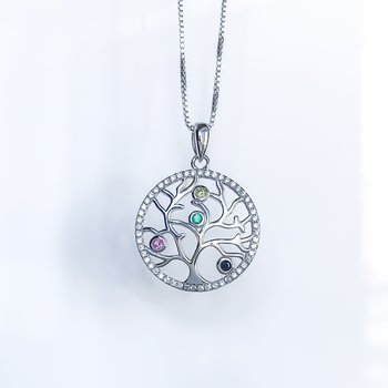 Coloured CZ Tree of Life Necklace
