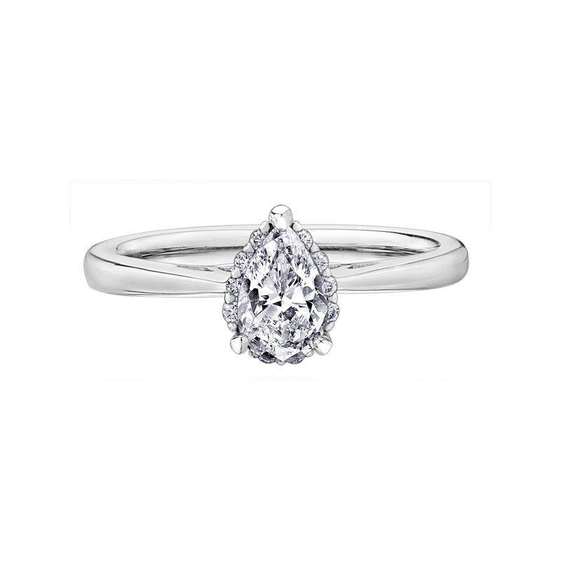 Corona Pear Shaped Halo Engagement Ring