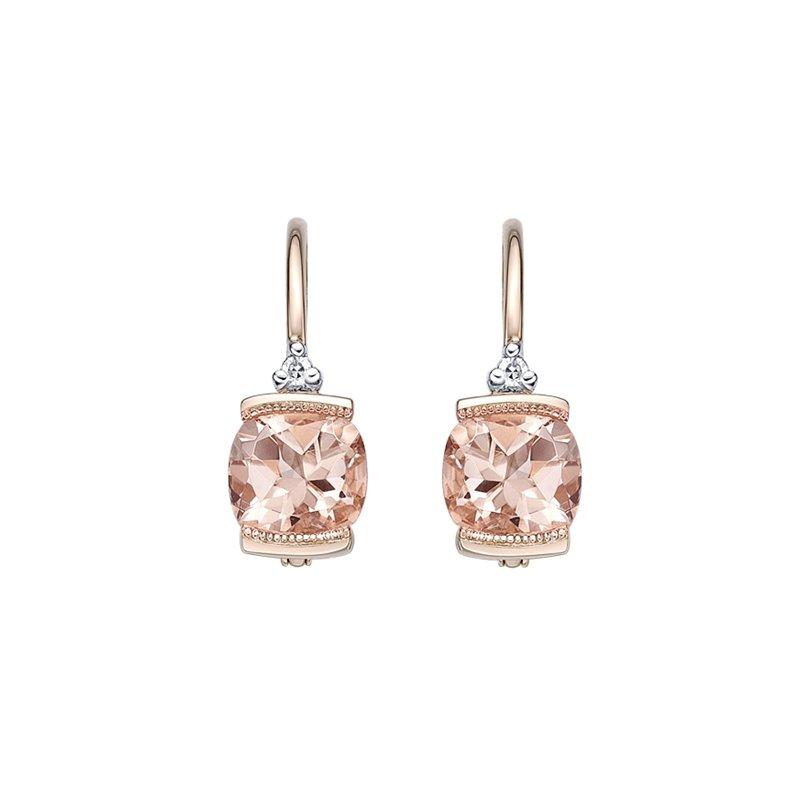 Karat Imports Rose Gold Morganite Drop Earrings