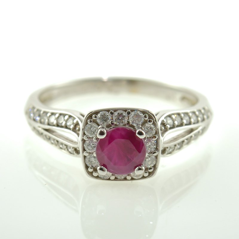 HJ Gemstone Collection Ruby & Diamond Halo Ring