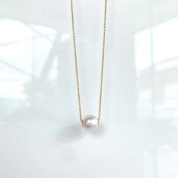 Yellow Gold Freshwater Pearl Slider Necklace