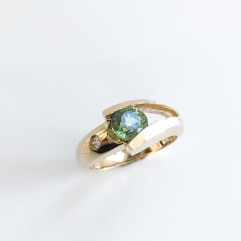 Custom Demantoid Garnet Ring