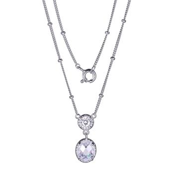 Sterling Silver Oval Diamondlite Necklace