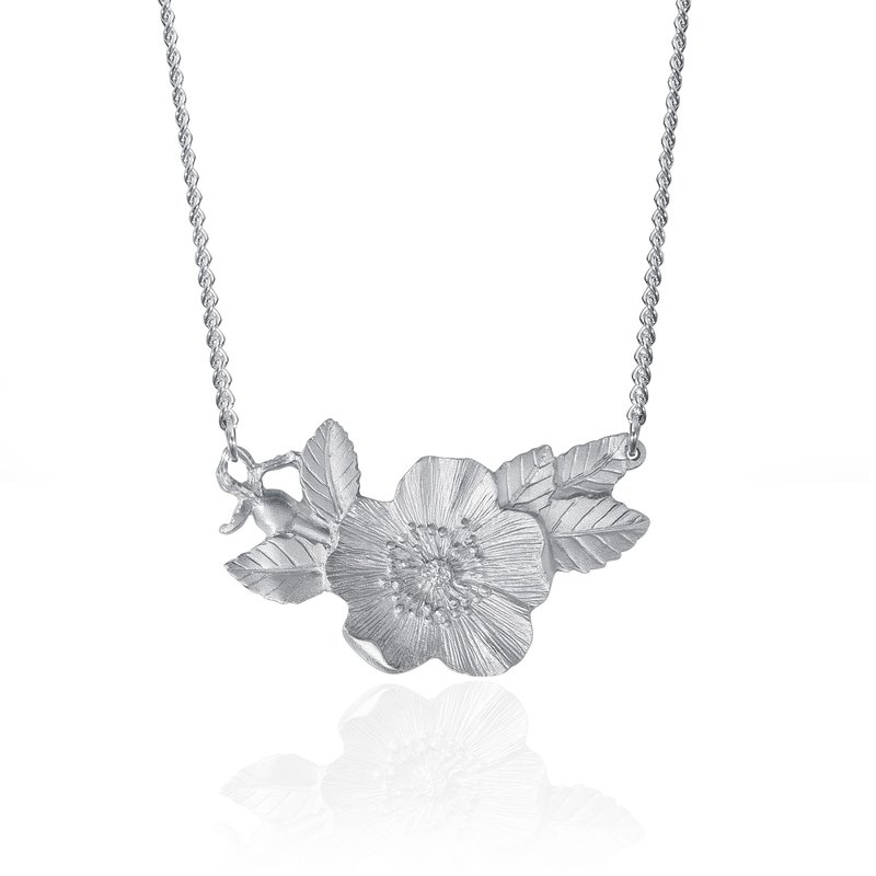 Amos Pewter Wild Rose Necklace