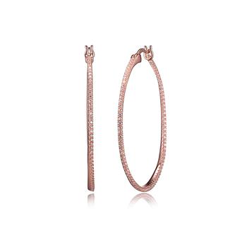 Rose Gold Plated CZ Hoop Earrings