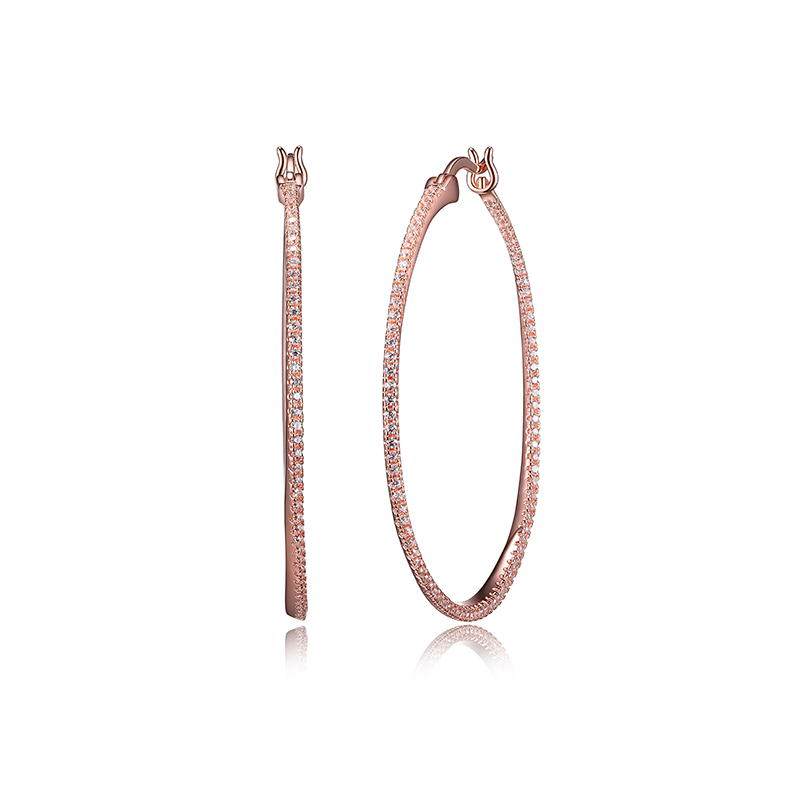Reign Rose Gold Plated CZ Hoop Earrings