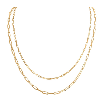 14KY Gold Paper Clip Necklace