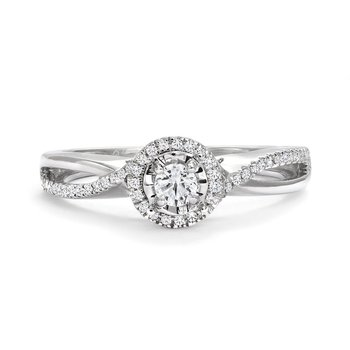 Canadian Diamond Halo Engagement Ring