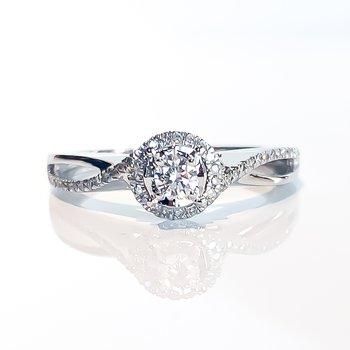 Canadian Diamond Halo Engagement Ring