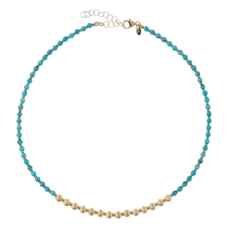 Etrusca Gioielli Turquoise & Satin Bead Necklace