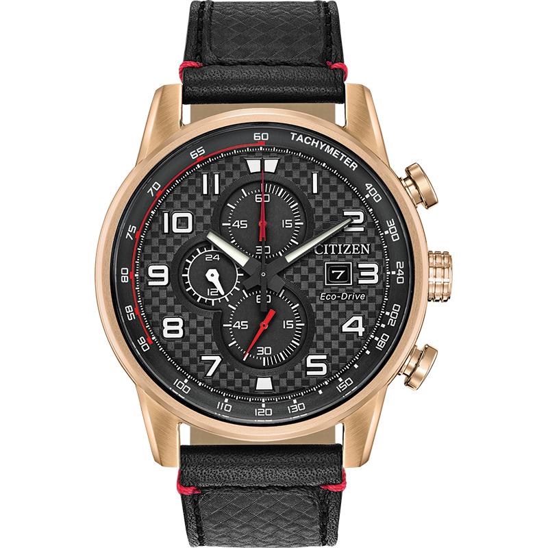 Citizen Eco-Drive Watch Black Leather