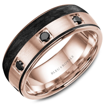 Black Carbon & Black Diamond Accented Wedding Band