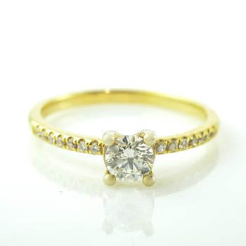 0.42CT Side-Stone Solitaire Engagement Ring