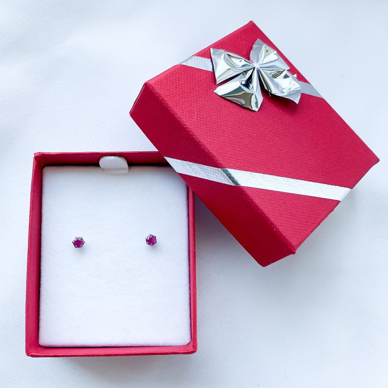 HJ Gemstone Collection Stainless Steel Ruby Stud Earrings