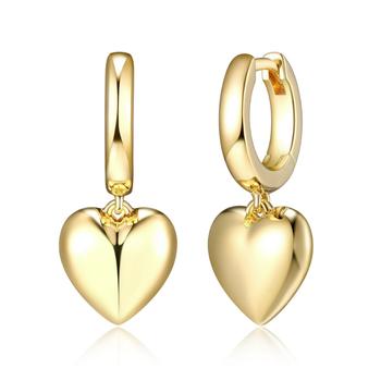 Gold Plated Heart Drop Hoop Earrings