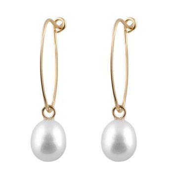 Yellow Gold Pearl Drop Earrings