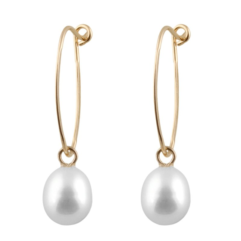 HJ Pearl Collection Yellow Gold Pearl Drop Earrings