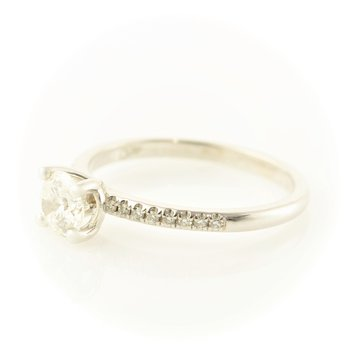 0.60CT Side-Stone Solitaire Engagement Ring