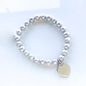 Grey Pearl Stretch Bracelet