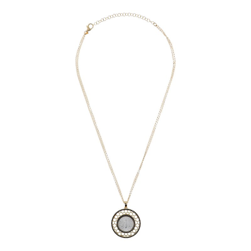 Etrusca Gioielli Black Spinel & Bee Coin Necklace