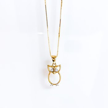 Yellow Gold Owl Necklace
