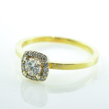 0.26CT Cushion Shaped Halo Engagement Ring