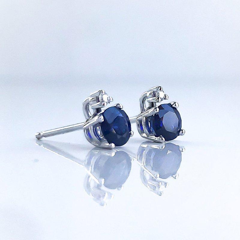 HJ Gemstone Collection Sapphire & Diamond Studs
