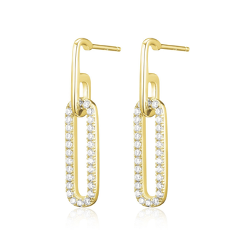 Yellow Gold Plated Paperclip Earrings