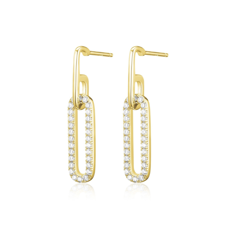 Reign Yellow Gold Plated Paperclip Earrings
