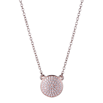 Rose Gold Plated Micro Pave Cubic Zirconia Necklace