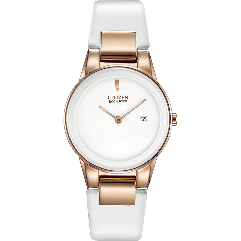 Citizen Eco-Drive Watch White Leather