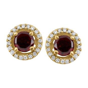 Yellow Gold Garnet & Diamond Earrings