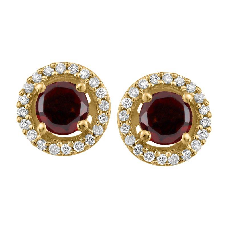 Forever Ice Yellow Gold Garnet & Diamond Earrings
