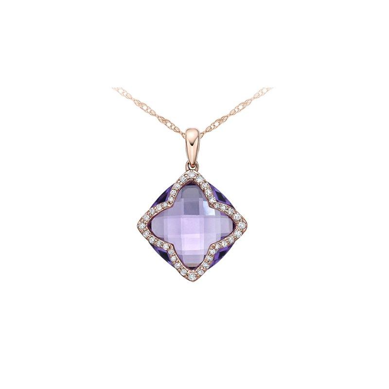 Karat Imports Amethyst & Diamond Necklace