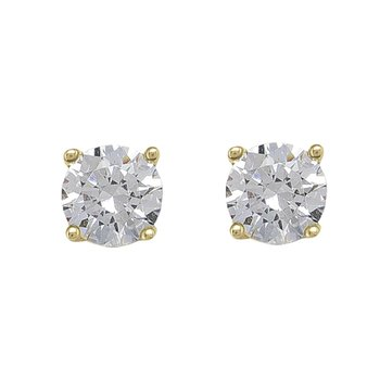 Yellow Gold Cubic Zirconia Studs (5mm)
