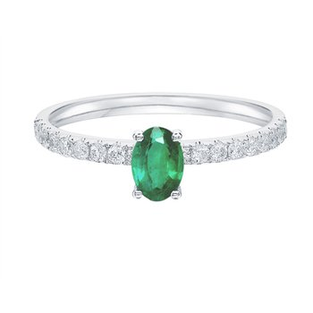 Oval Shaped Emerald Side-Stone Solitaire Ring