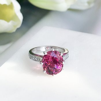 Custom Pink Tourmaline & Diamond Ring