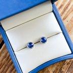 HJ Gemstone Collection Sapphire Diamond Halo Earrings
