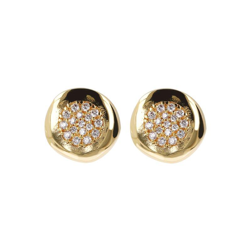Etrusca Gioielli CZ Button Stud Earrings