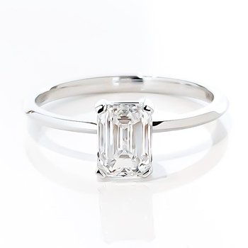 1.00CT Emerald Cut Lab Grown Diamond Solitaire Engagement Ring