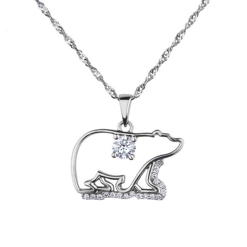 HJ Diamond Collection Polar Bear Canadian Diamond Necklace