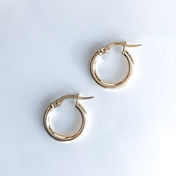 Yellow Gold Hoop Earrings (15mm)