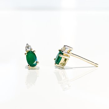Yellow Gold Emerald & Diamond Earrings