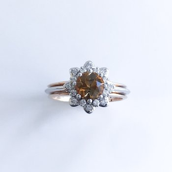 Custom Golden Tourmaline & Diamond Ring