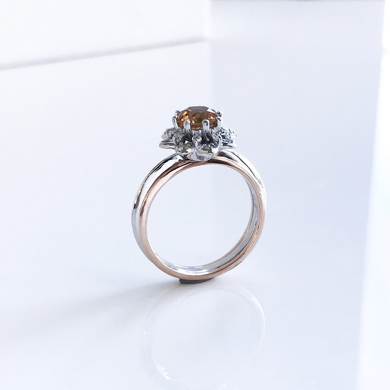 HJ Gemstone Collection Custom Golden Tourmaline & Diamond Ring