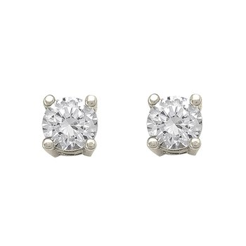White Gold Cubic Zirconia Studs (4mm)