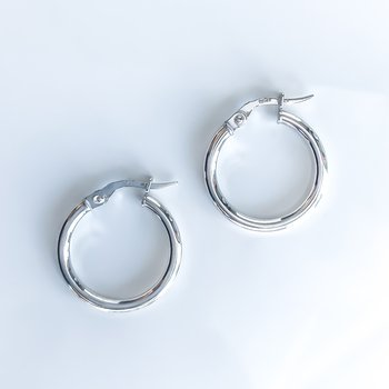 White Gold Hoop Earrings (20mm)