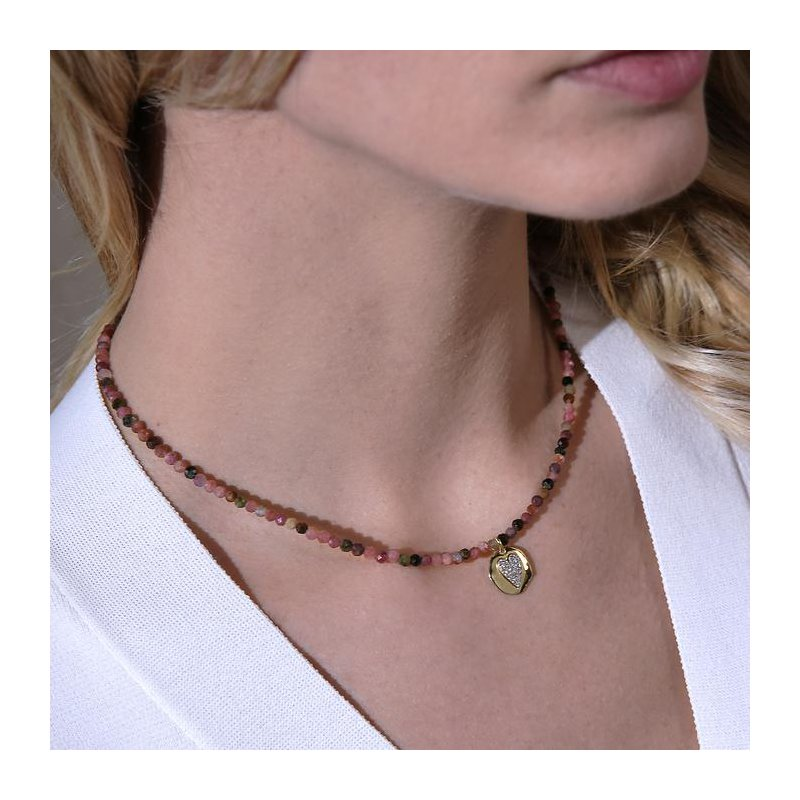 Etrusca Gioielli Muli-Tourmaline Necklace with Heart Charm
