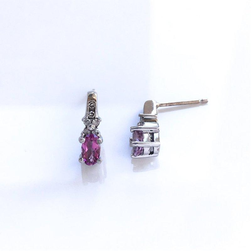 HJ Gemstone Collection Pink Topaz & Diamond Earrings