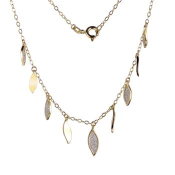 Gold Plated Leaf Droplet Necklace
